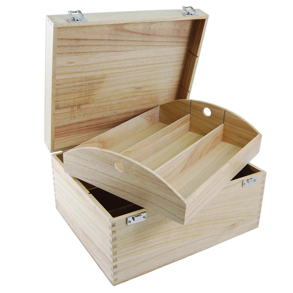 This box has been redesigned to be strong and comes with removable dividers in the base as well as the tray to allow for total flexibility. It is made from clear varnished tung wood and has silver clasps and hinges.