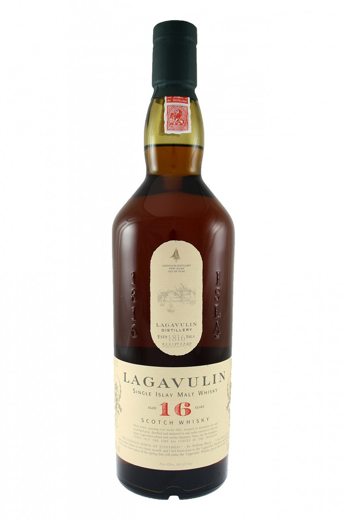 Lagavulin 16 Year Old Single Islay Malt Whisky.  Heavy, powerful, full bodied, excellent after dinner. Pungy and potent with rich, deep, peaty, smoky flavours.