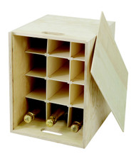 This presentation box 12 bottle upright wooden wine box made from 10mm pine ply with a sliding lid. The wine box is supplied with 1/3 height removable wooden dividers to stop bottles from knocking together. The two carry holes at each end mean the strong wooden winebox can be used to safely to carry up to twelve bottles of wine or Champagne to a maximum size of 90 x 330mm.  Wine not included.
