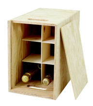 This presentation box 6 bottle upright wooden wine box made from 10mm pine ply with a sliding lid. The wine box is supplied with 1/3 height removable wooden dividers to stop bottles from knocking together. The two carry holes at each end mean the strong wooden winebox can be used to safely to carry up to six bottles of wine or Champagne to a maximum size of 90 x 330mm.  Wine not included.