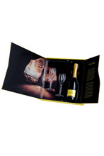 Folds open to display the bottle of Champagne the two Champagne flutes and images of the caves in Chalons