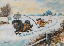Mistletoe Pony Thelwell Christmas Card