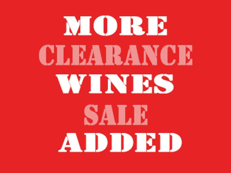More wines added to our Clearance Sale to make space for our 'Wine Studio'