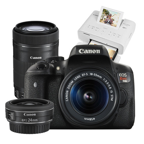 Canon EOS Rebel T6i 18-55mm IS STM with 55-250mm IS STM & 24mm STM & Selphy CP1300 Bundle