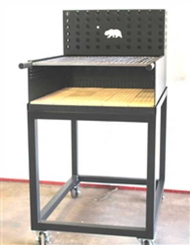 Wood Burning Artisan Black Steel Tuscan BBQ Grill with Ember Maker. A Great BBQ Grill for cooking Florentine Steaks and other meats. This Charcoal Grill comes with a movable cart on wheels.