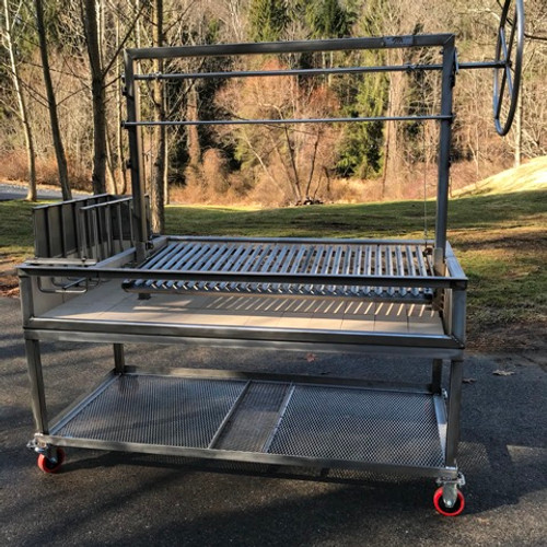 Stainless Steel Argentine Grill with Side Brasero plus Cart with Firewood Shelf and 4 Casters