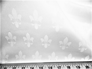 Discount Fabric Upholstery Drapery Twill Jacquard Fleur de Lis Bright White 39DR