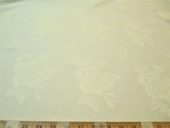 Discount Fabric Upholstery Drapery Twill Jacquard All Over Rose Ivory 52DR