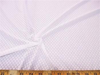 Discount Fabric Stretch Mesh Lace White Interlocking Diamonds 620LC