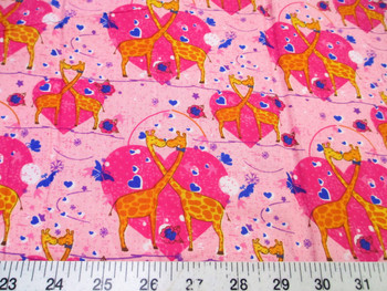 Discount Fabric Quilting Cotton Heart Kissing Pink Giraffes 401K