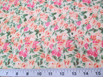 Discount Fabric Quilting Cotton Peach, Pink and Green Floral 405K