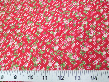 Discount Fabric Quilting Cotton Pink, Peach and Green Floral on Red 407K