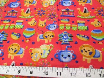 Discount Fabric Cotton Apparel Rose Red Carnival Day Trains Carousel Lion 403K