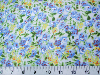 Discount Fabric Cotton Apparel Blue, Yellow and Green Floral 404K
