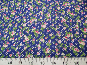 Discount Fabric Cotton Apparel Pink, Peach and Green Floral on Blue 304K