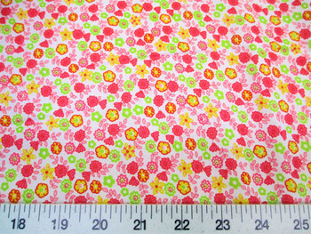 Discount Fabric Cotton Apparel Pink, Yellow and Green Floral 310K