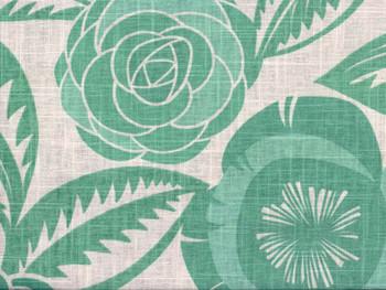 Discount Fabric Richloom Upholstery Drapery Linen Havana Aqua Green Floral 32LL