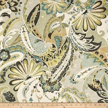 Discount Fabric Richloom Upholstery Drapery Reynard Seafoam Paisley Floral 41MM