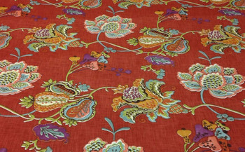 Discount Fabric Richloom Upholstery Drapery Leopold Persimmon Red Floral 21NN