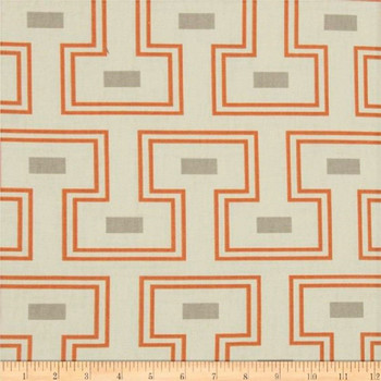 Discount Fabric Richloom Upholstery Drapery Orson Tangerine Geometric 35NN