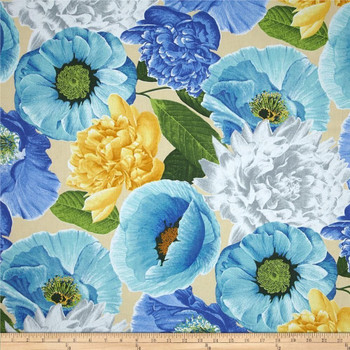 Discount Fabric Richloom Upholstery Drapery Sidera Bluebell Sateen Floral 40NN