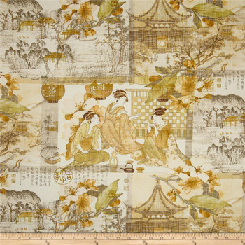 Fabric Richloom Upholstery Drapery August Moon Chamomile Asian Toile 20QQ