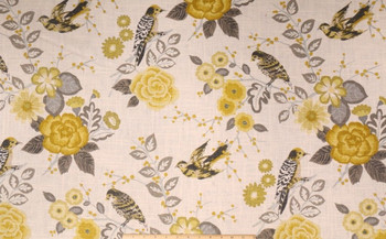 Fabric Richloom Upholstery Drapery Linen Bountiful Dandelion Floral Birds 21QQ