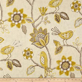 Fabric Richloom Upholstery Drapery Linen Cranbrook Yellow Floral Birds 44QQ