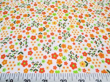 Discount Fabric Cotton Apparel Orange and Green Floral 203J