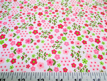Discount Fabric Cotton Apparel Pink and Green Floral 206J