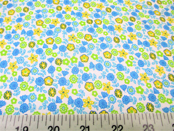 Discount Fabric Quilting Cotton Blue, Yellow and Green Floral 405J
