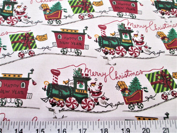 Discount Fabric Cotton Apparel Merry Christmas Trains, Happy New Year 17T