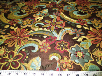 Discount Fabric Upholstery Drapery Floral Splash Godiva Jacquard Floral 10DD