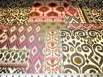 Discount Fabric Upholstery Drapery Shangri La Rose Jacquard Geometric Ikat 20DD