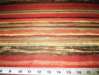 Discount Fabric Upholstery Drapery Painterly Persimmon Jacquard Stripe 22DD