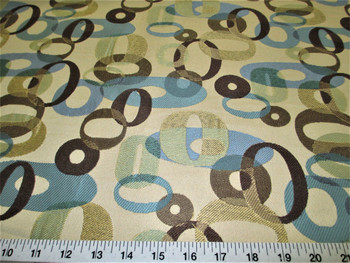 Discount Fabric Upholstery Drapery Blue Haze Multi Colored Jacquard Circles 30DD