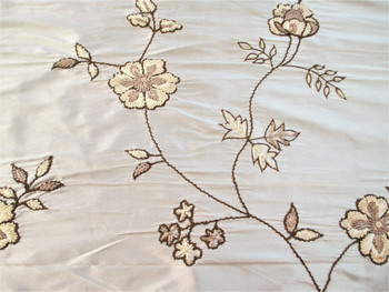 Fabric Robert Allen Beacon Hill Sir Percy Ivory 100% Silk Embroidered Floral 2H