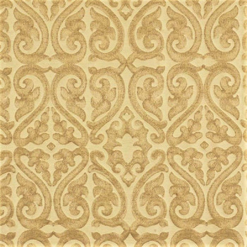 Fabric Robert Allen Beacon Hill Topiary Scroll Yellow Lotus Silk Drapery 25*J