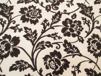 Fabric Robert Allen Beacon Hill Bijoux Floral Sable Brown Flocked Drapery 11JJ
