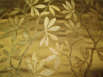 Fabric Robert Allen Beacon Hill Summer Leaves Caper 100% Silk Drapery 43HH