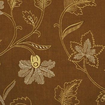 Fabric Robert Allen Beacon Hill Lakeside Teak Embroidered Linen Floral 43II