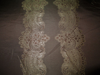 Fabric Robert Allen Beacon Hill Le Reve Sable Silk Embroidered Drapery 12II