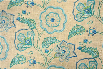 Discount Fabric Richloom Upholstery Drapery Cimmaron Cobalt Linen Floral 30GG