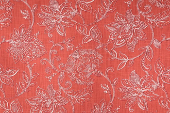 Discount Fabric Richloom Upholstery Drapery Benson Agean Coral Floral 39MM
