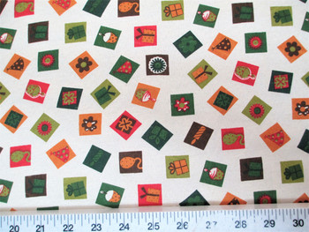 Discount Fabric Quilting Cotton Christmas Celebration Boxes Presents 23T