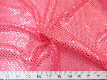 Discount Fabric Stretch Glitter Mesh Sequin Dots Hot Pink Sheer Sparkle 40L