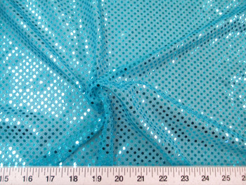 Discount Fabric Stretch Glitter Mesh Sequin Dots Turquoise Sheer Sparkle 41L