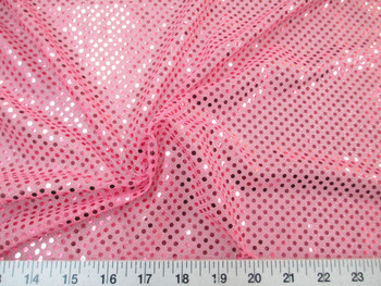 Discount Fabric Stretch Glitter Mesh Sequin Dots Pink Sheer Sparkle 43L