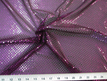 Fabric Stretch Glitter Mesh Sequin Dots Black and Purple Sheer Sparkle 49L
