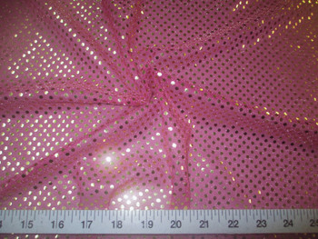 Fabric Stretch Glitter Mesh Sequin Dots Magenta Pink and Gold Sheer Sparkle 50L
